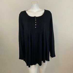 Style Co Pintuck Black Pullover Long Sleeve Top 2X